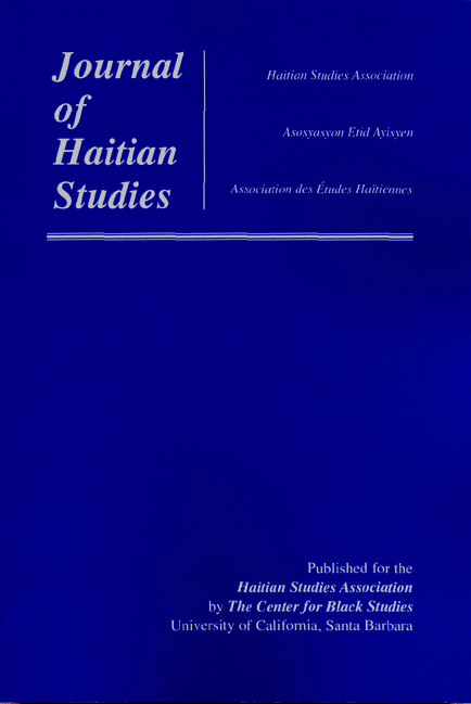Journal of Haitian studies, blue cover and white text