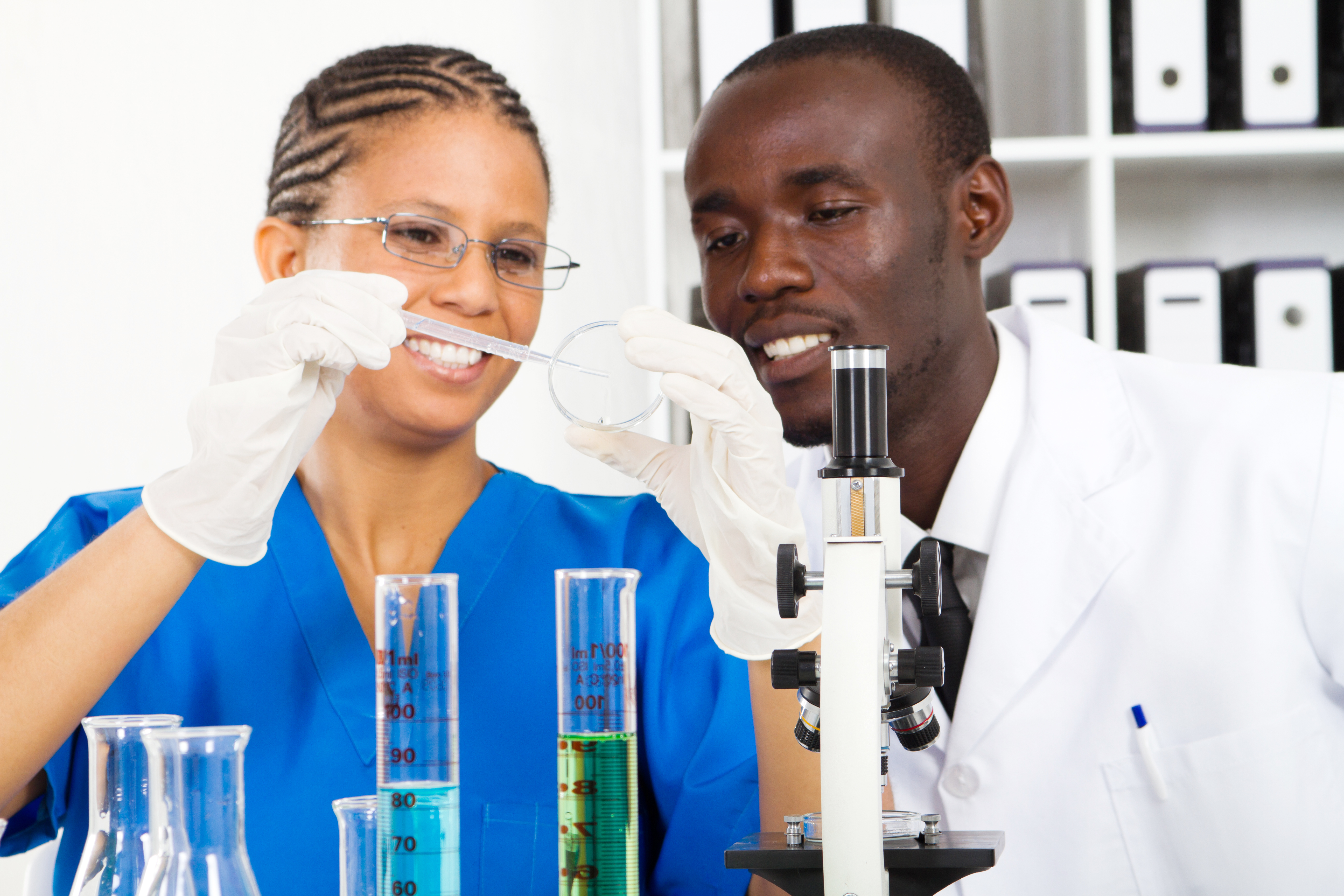 Close-up of two students in a science lab
