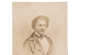 Sepia drawing of Frederick Douglass, dated 1853