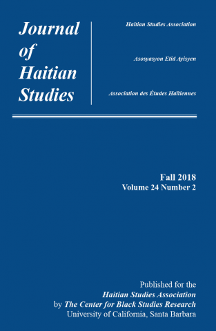 Front cover of the Fall 2018 issue of the Journal of Haitian Studies